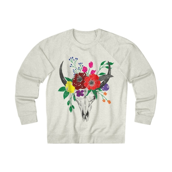 Skull & Flowers, Unisex French Terry Crew, Georgia O'Keefe Inspired