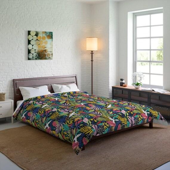 Retro Jungle Floral Queen Comforter