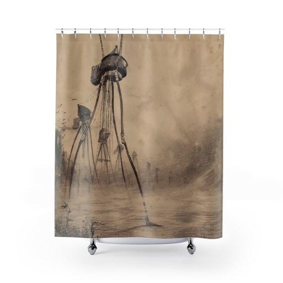 War Of The Worlds, 5 of 6, Shower Curtain, Vintage 1906 Illustration, H.G. Wells