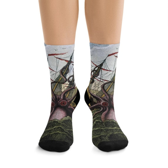 Kraken Attacks Ship Off Egypt, Premium Crew Socks, One Size Fits Most