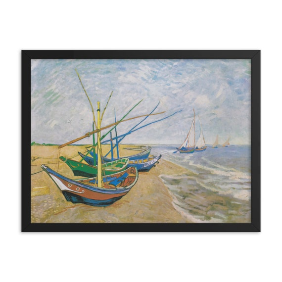 """Fishing Boats on the Beach, 24""""x18"""" Framed Giclée Poster, Black Wood Frame, Acrylic Covering, Vincent Van Gogh, Room Decor"""