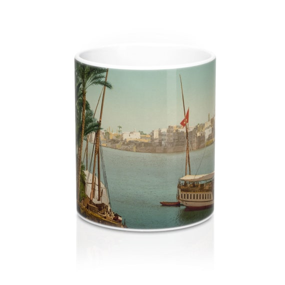 Cairo Egypt Taken From The Shore Near Bulaq, Coffee Mug, Antique/Vintage Postcard, Circa 1890 To 1906.