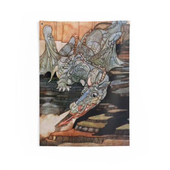 Here Be Dragons, Indoor Wall Tapestry, Vintage Art Nouveau Illustration, Wall Decor, Room Decor