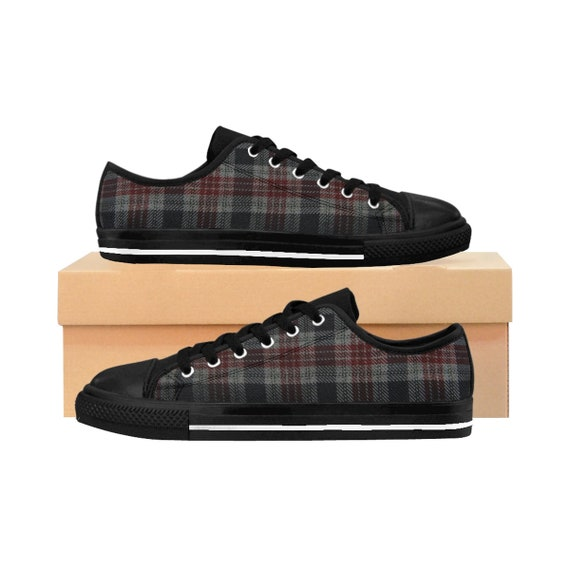 Men's Vintage Inspired Red & Gray Plaid Sneakers