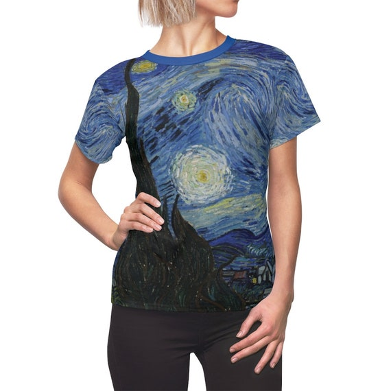 Starry Night And The Towering Cypress Women's Top, Vincent Van Gogh, AOP