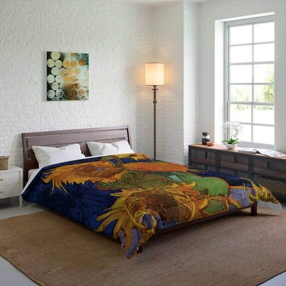 Six Sunflowers Queen Comforter, Vincent Van Gogh