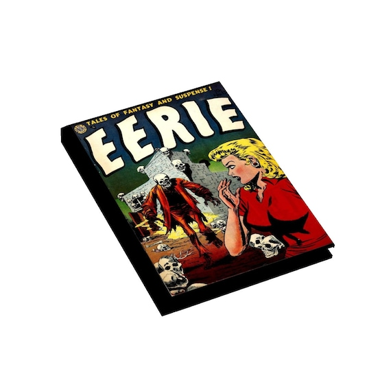 Eerie, Hardcover Journal, Ruled Line, Opens Flat, Vintage Horror Comic Cover