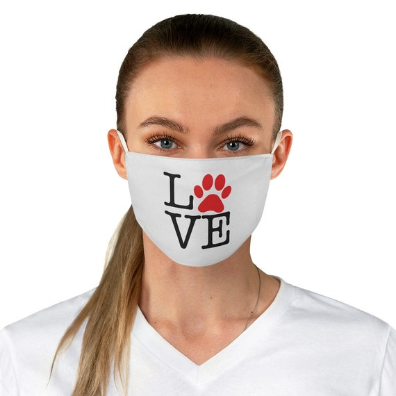 Love Paw Print Cloth Face Mask, Washable, Reusable, I Love Dogs, I Heart Dogs