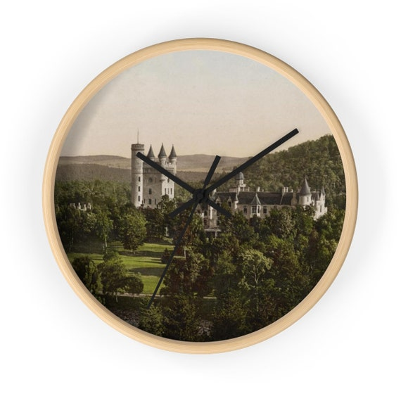 "Balmoral Castle, Scotland, 10"" Wall Clock, Antique Vintage Postcard, Circa 1890"