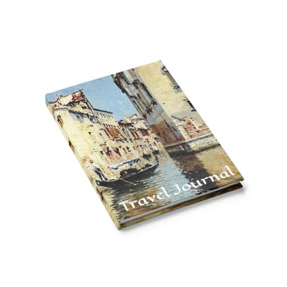 Venetian Canal Scene, Travel Journal, Hardcover, Ruled Line, Vintage Painting, Antonio María Reyna Manescau, 1915