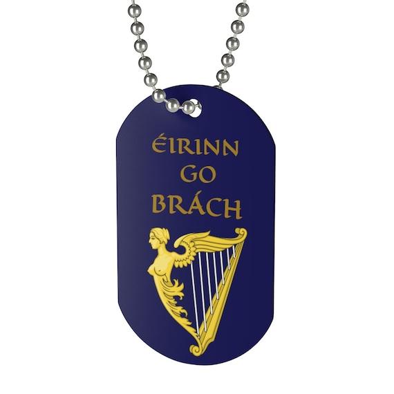 Eirinn Go Brach, Dog Tag, Red Dragon, Ireland, Blue Harp Flag, Irish Pride, Keychain
