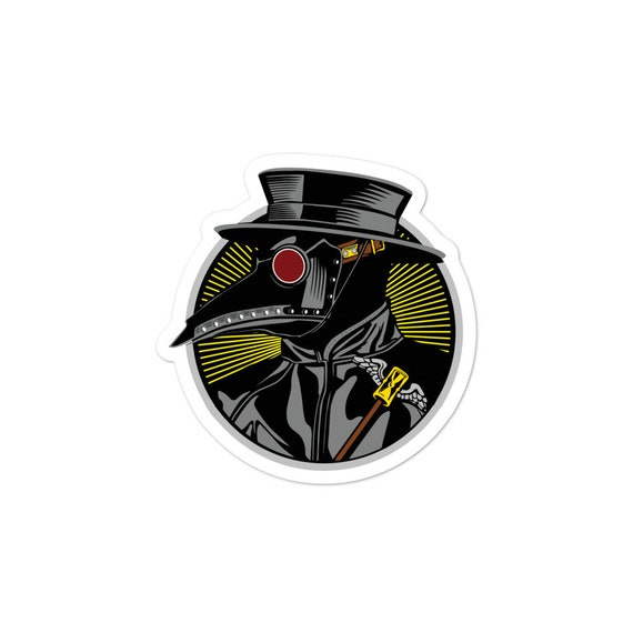 Plague Doctor, Vinyl Outdoor Opaque Bubble-free Sticker, Vintage Inspired Steampunk Image