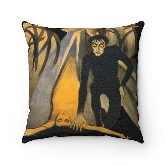 Dr. Caligari, Black Square Pillow, German Expressionist Cinema, 1920 Silent Horror Film Poster