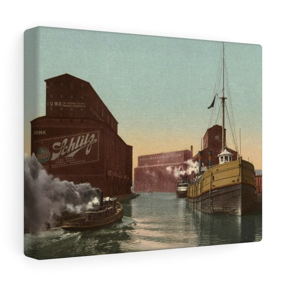 Chicago River Elevators - Wrapped Canvas - From An Antique Vintage Postcard, Circa 1890 To 1900.