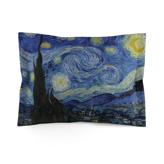 Starry Night, Microfiber Pillow Sham, Vintage, Antique Painting, Vincent Van Gogh, 1889