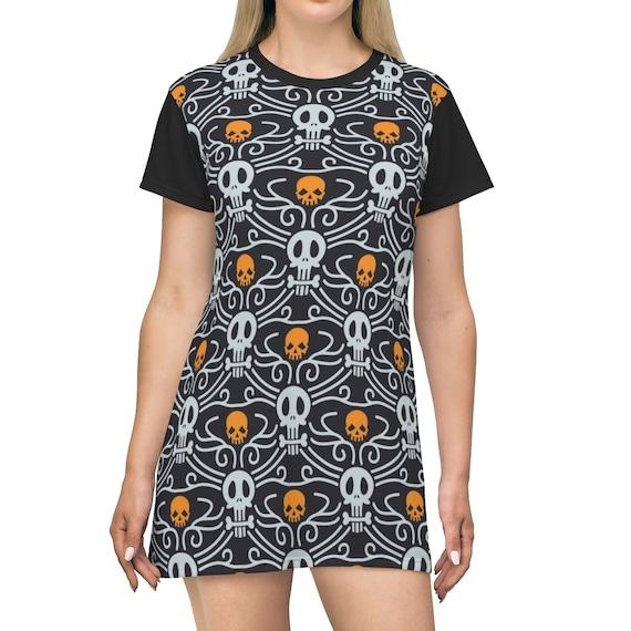 Day Of The Dead, T-shirt Dress, Long Flared Top, Long T-shirt, Comfy Sleep Shirt, Día De Meurtos, AOP