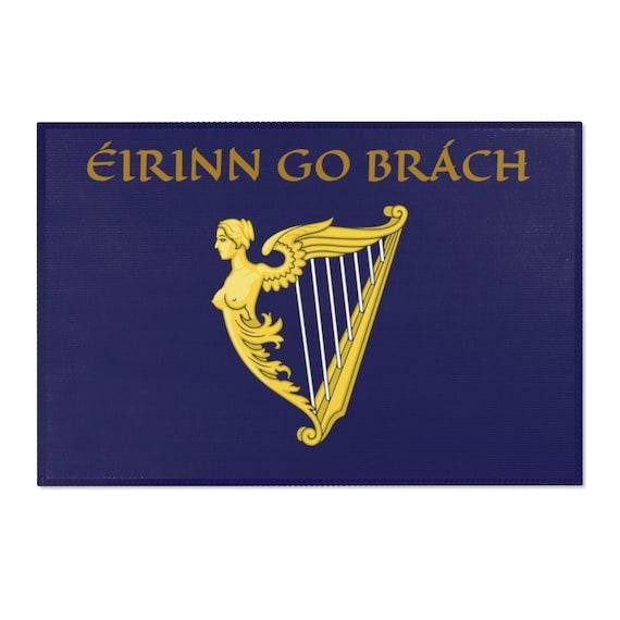 Eirinn Go Brach, 2'x3' Door Mat & 4'x6' Area Rug Sizes, Blue Harp Flag, Coat Of Arms, Irish Pride