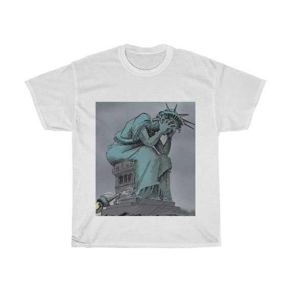 Profound Sadness, Unisex Heavy Cotton T-Shirt, Vintage Image Of The Statue Of Liberty Crying, Patriotism, Activism