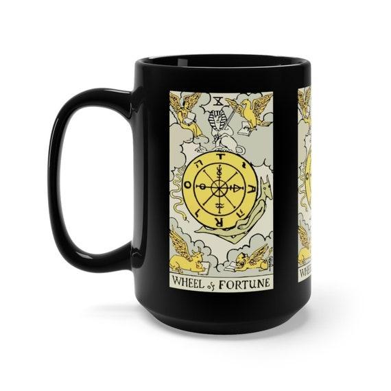 Wheel Of Fortune, Black 15oz Ceramic Mug, Tarot Card, Major Arcana, From Vintage Rider-Waite Deck, Coffee, Tea