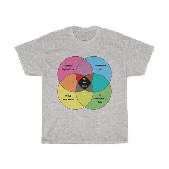 Dystopian Convergence, Unisex Heavy Cotton T-Shirt, References Four Classic Sci-Fi Novels