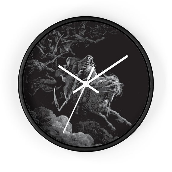"Death On The Pale Horse v2, 10"" Wall Clock, Vintage, Antique Illustration, Gustave Dore, 1865"