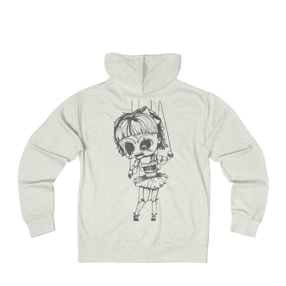 Creepy Doll, French Terry Zip Hoodie, Vintage Inspired Burlesque Show Marionette Puppet, FREE SHIPPING WORLDWIDE