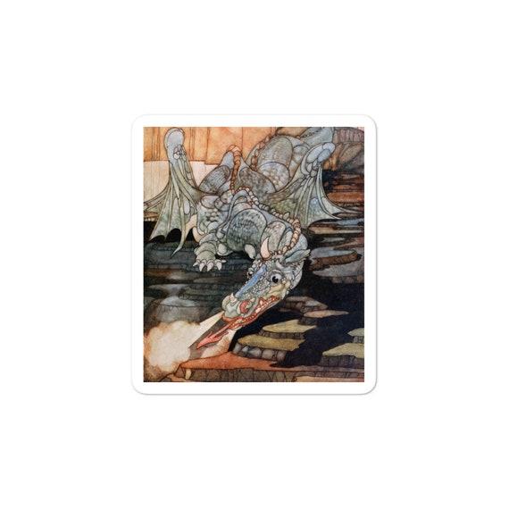 Here Be Dragons, Vinyl Outdoor Opaque Bubble-free Sticker, Vintage Art Nouveau Illustration