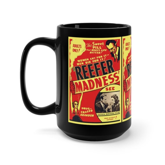 Reefer Madness Large Black Ceramic Mug, From Vintage Movie Poster, Cult Classic, Campy, Satire, Pop Culture, Coffee, Tea