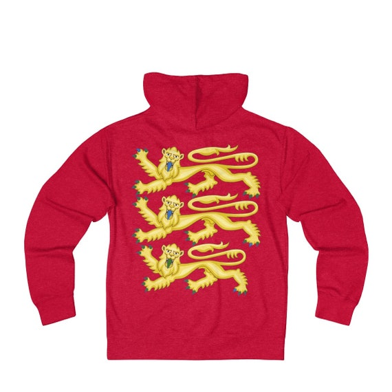 Plantagenet Lions, Unisex French Terry Zip Hoodie, 8 Colors, Royal Arms of England, English Pride
