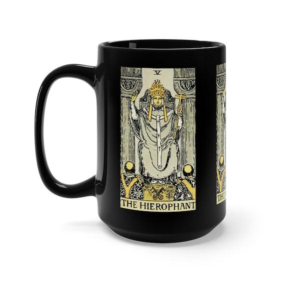 The Hierophant, Black 15oz Ceramic Mug, Tarot Card, Major Arcana, From Vintage Rider-Waite Deck, Coffee, Tea