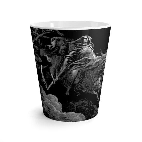 Death Rides The Pale Horse, 12oz Latte Mug, Halloween, Vintage, Antique Illustration, Gustave Dore, 1865