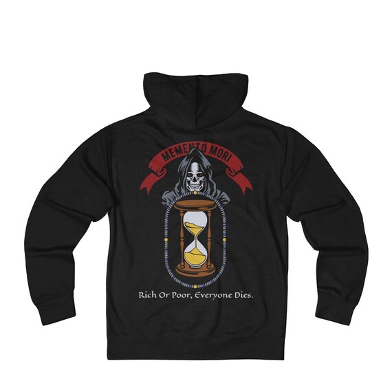 Memento Mori, French Terry Zip Hoodie, Vintage Inspired Image, Death, Grim Reaper, Black Cowl, Hourglass