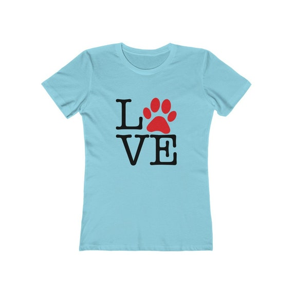 Love Paw Print, Women's Boyfriend Tee, I Love Dogs, I Heart Dogs