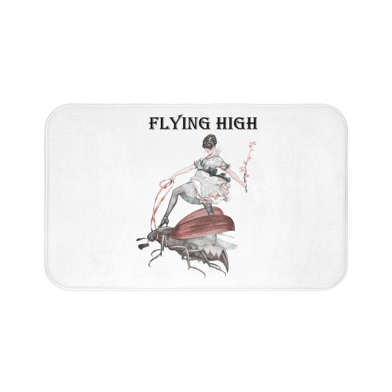 Flying High, Bath Mat, Vintage/Antique Illustration, Jazz Age Woman Riding A Large Flying Insect