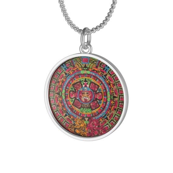 Aztec Calendar, Sterling Silver Necklace, Antique Image