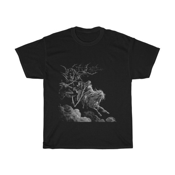 Death Rides The Pale Horse, Black Unisex T-shirt, Vintage Illustration, Gustave Dore, 1865, Christian Religion