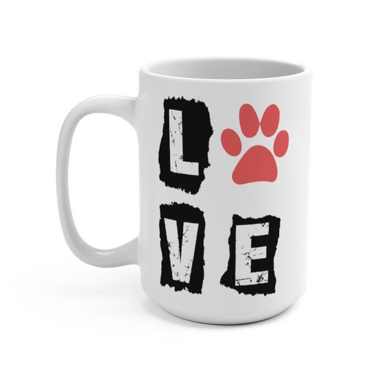 Love Paw Print White 15oz Ceramic Mug, Dog Lover, Cat Lover, Animal Lover, Coffee, Tea