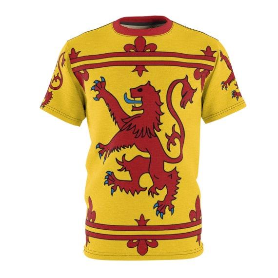 Lion Rampant of Scotland, Unisex T-shirt, Royal Banner of the Royal Arms of Scotland, Scottish Pride, AOP