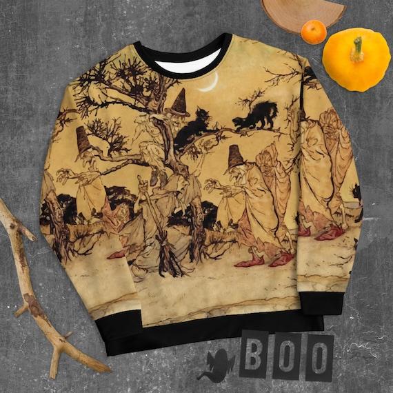 Black Cats & Witches, Light Fleece Premium Sweatshirt, Halloween, Arthur Rackham, Witchcraft, Vintage Illustration, AOP