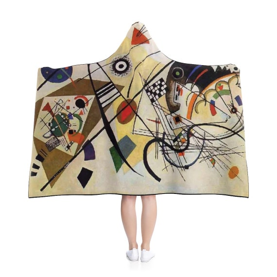 "Wassily Kandinsky, Red Chalkboard, 80""x56"" Hooded Blanket, Abstract"