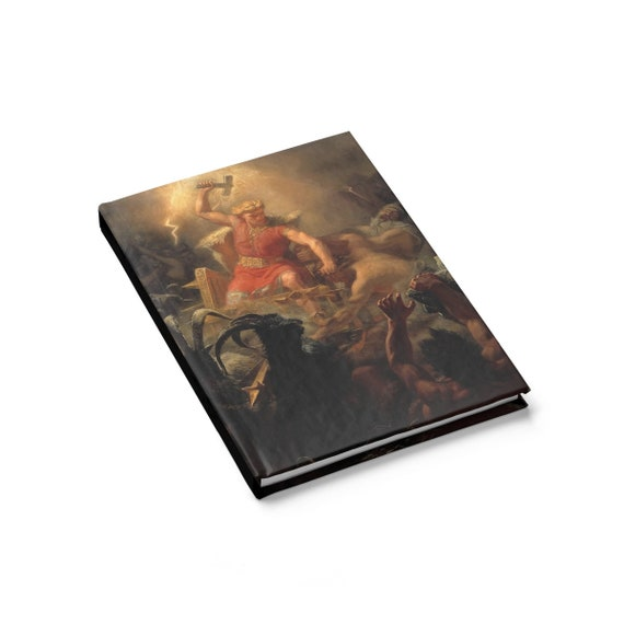 Thor Fights The Giants, Hardcover Journal, Ruled Line, Vintage, Antique Image, Marten Eskil Winge, 1872