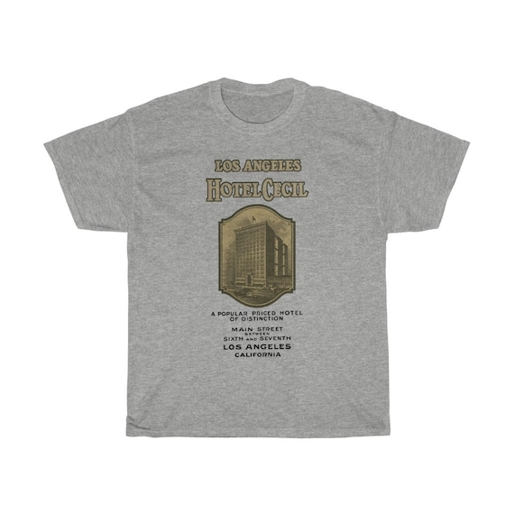 Hotel Cecil T-shirt, True Crime, Antique Brochure Circa 1927, Americana