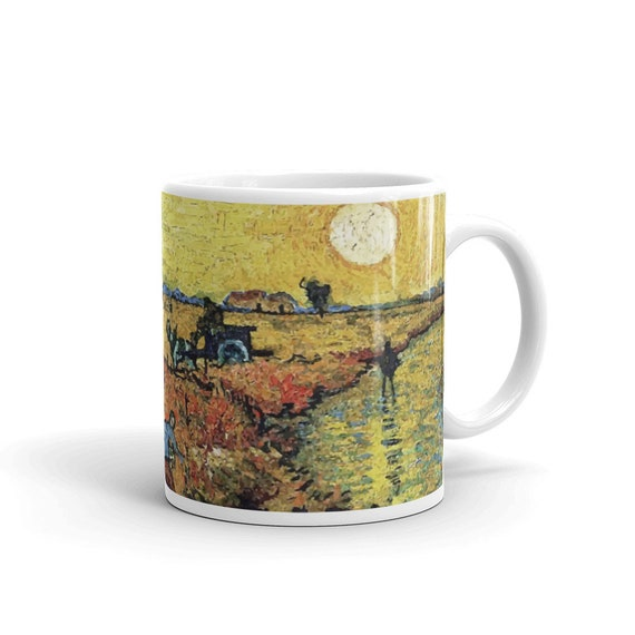 Red Vineyard, White Glossy Mug, Vintage, Antique Painting, Vincent Van Gogh, 1888