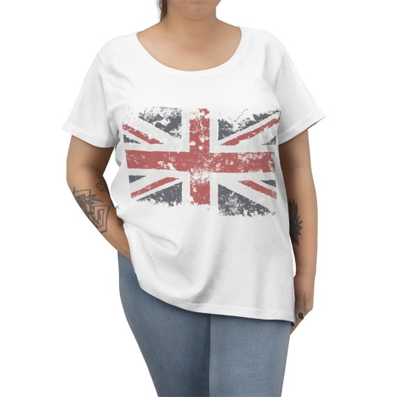Grunge, Shabby United Kingdom Flag, Women's Curvy Tee, Vintage Inspired