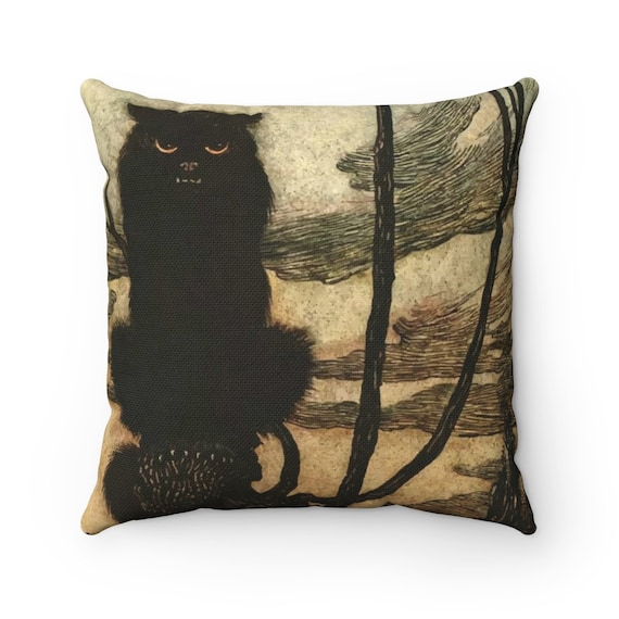 Black Cat, Square Pillow, Halloween, Vintage Illustration, Arthur Rackham, 1920