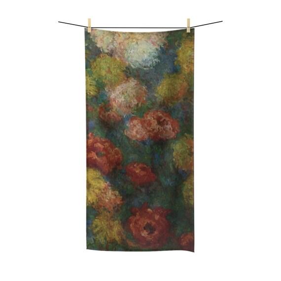 Chrysanthemums, Bath Towel, Vintage Painting, Monet, Circa 1880