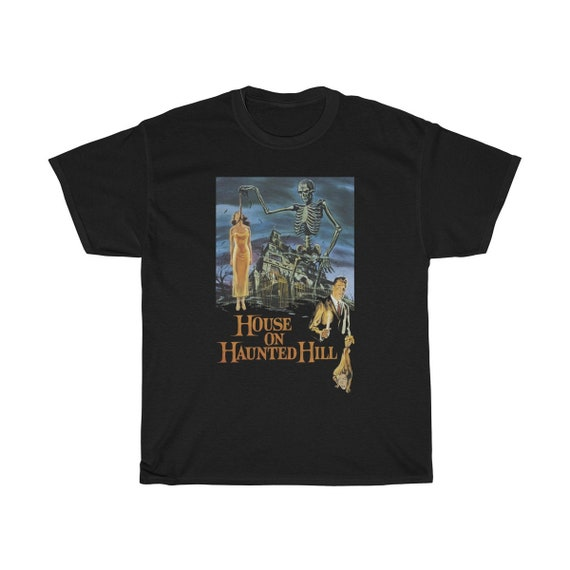 House On Haunted Hill, Black Unisex T-shirt, 1959 Campy Horror Movie Poster
