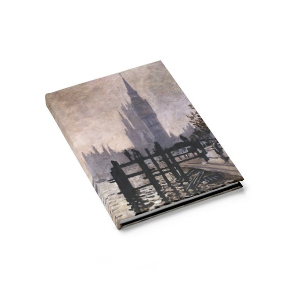The Thames below Westminster Hardcover Journal, Ruled Line, Claude Monet, Notebook
