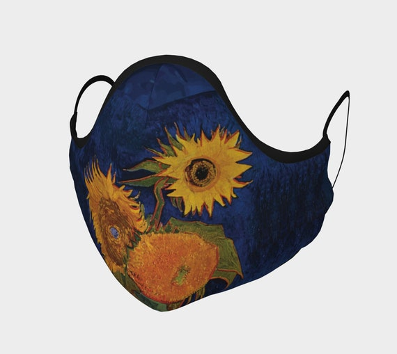 Six Sunflowers, Face Mask, 7 Sizes, Filter Pocket, Filters, 100% Cotton, Free Worldwide Shipping, Vincent Van Gogh