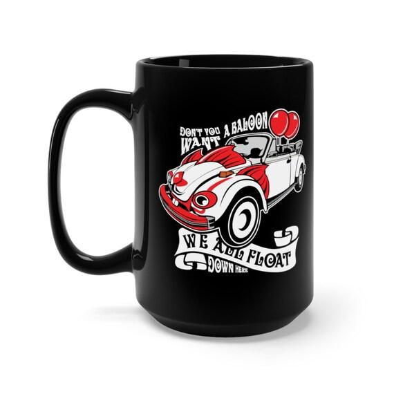 Scary Clown Car, Black 15oz Ceramic Mug, Inspired By The Horror Movie IT